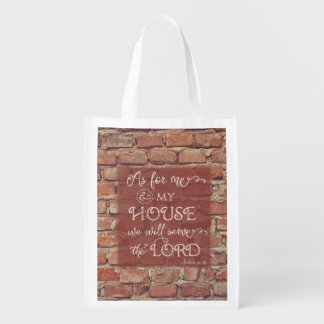 We Will Serve the Lord - Joshua 24:15 Reusable Grocery Bag