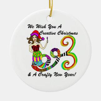 We Wish You A Creative Christmas Mermaid Ceramic Ornament