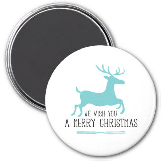 We Wish You a Merry Christmas   Blue Reindeer Magnet