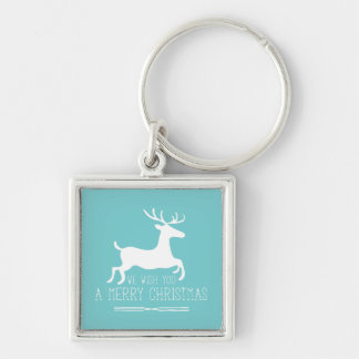 We Wish You a Merry Christmas | Blue Solid Silver-Colored Square Keychain