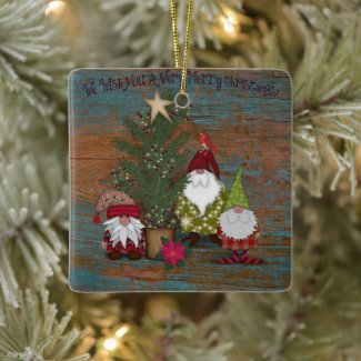 We Wish You A Merry Christmas | Gnomes | Folk Art Ceramic Ornament
