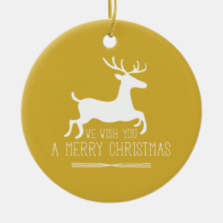 We Wish You a Merry Christmas | Gold Ceramic Ornament