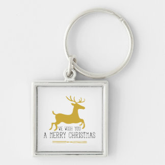 We Wish You a Merry Christmas | Gold Silver-Colored Square Keychain