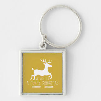 We Wish You a Merry Christmas | Gold Solid Silver-Colored Square Keychain