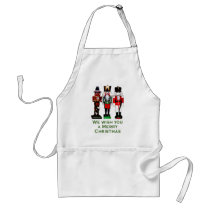 We Wish You a Merry Christmas Nutcrackers Adult Apron