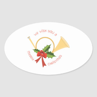 We Wish You A Merry Christmas Oval Sticker
