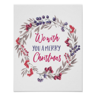 We wish you a Merry Christmas poster print