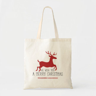 We Wish You a Merry Christmas | Red Reindeer Tote Bag