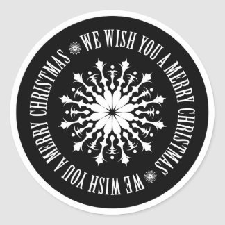 We wish you a merry christmas round stickers
