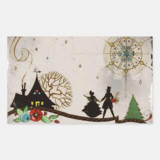 We Wish You a Merry Christmas Silhouette Rectangular Sticker