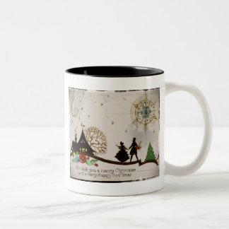 We Wish You a Merry Christmas Silhouette Two-Tone Coffee Mug
