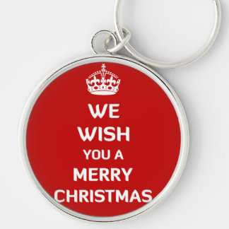 We Wish You A Merry Christmas Silver-Colored Round Keychain