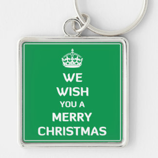 We Wish You A Merry Christmas Silver-Colored Square Keychain