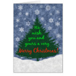 We Wish You a Merry Christmas Tree and Snowflakes Greeting Cards