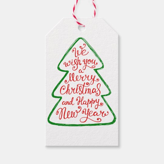 We Wish You a Merry Christmas Tree Greetings Gift Tags | Zazzle.com