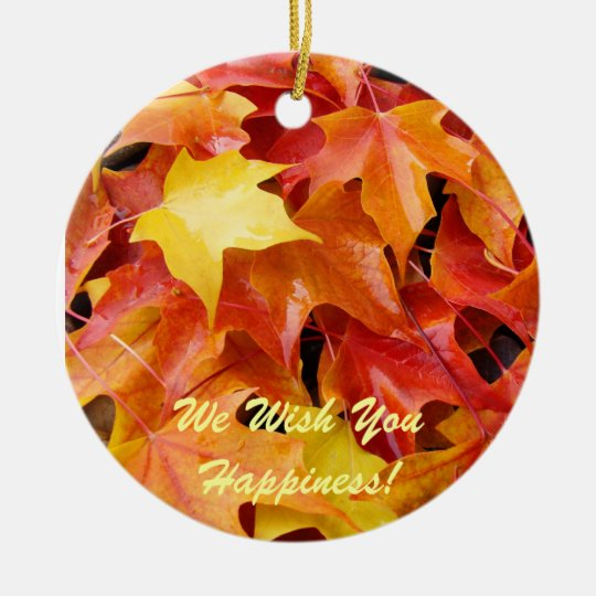 We Wish You Happiness! Ornaments Tree Leaves