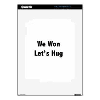 We won Lets Hug Decals For iPad 2
