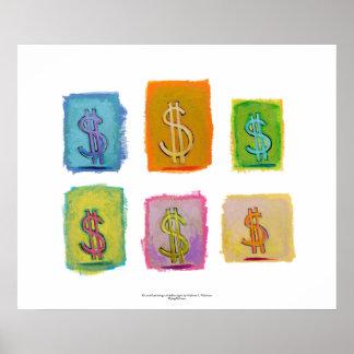 Wealth abundance economics money fun happy art poster