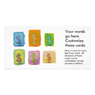 Wealth money abundance fundraising fun happy art photo card template