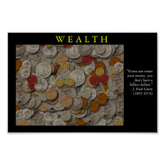 WEALTH Motivational Coin Poster Print