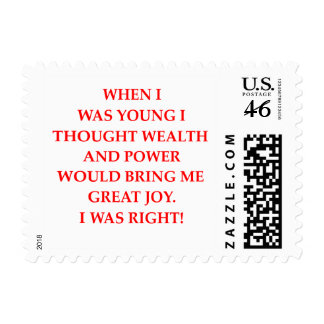 wealth power and happiness postage stamp