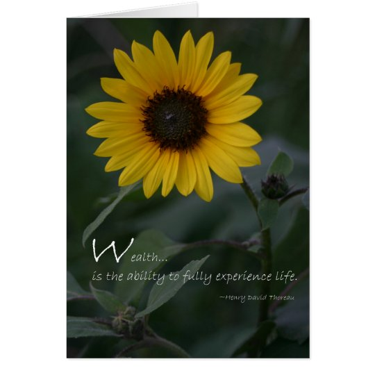 Wealth quote yellow sunflower card