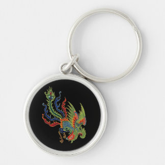 Wealthy Peacock Tattoo Vintage Chinese on Black Silver-Colored Round Keychain
