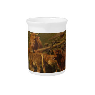 Weaning the Calves by Rosa Bonheur Pitcher