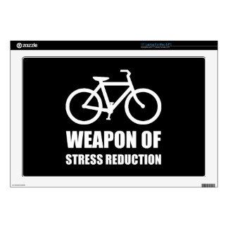 "Weapon of Stress Reduction Biking 17"" Laptop Decal"