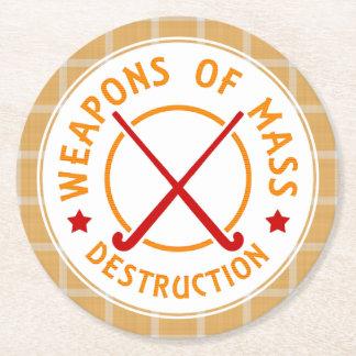 Weapons of Mass Destruction Field Hockey Round Paper Coaster