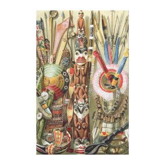 Weaponsutensils y ornamentos de AmericanIndians Lienzo Envuelto Para Galerías