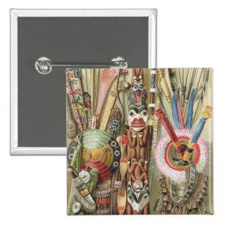 Weaponsutensils y ornamentos de AmericanIndians Pin Cuadrada 5 Cm