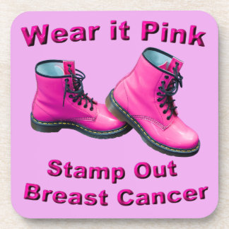 Wear It Pink Stamp Out Breast Cancer Drink Coasters