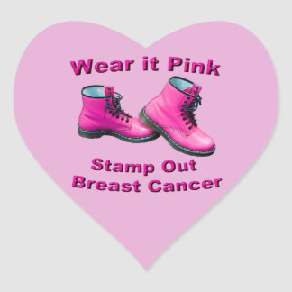 Wear It Pink Stamp Out Breast Cancer Heart Sticker
