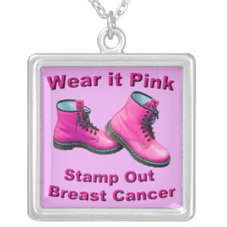 Wear It Pink Stamp Out Breast Cancer Necklace