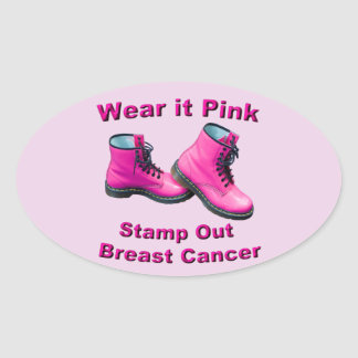 Wear It Pink Stamp Out Breast Cancer Oval Sticker