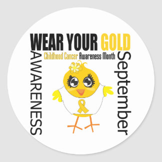 Wear Your Gold Childhood Cancer Awareness Month Classic Round Sticker