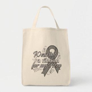 Wearing a Gray Awareness Ribbon For My Hero Tote Bag