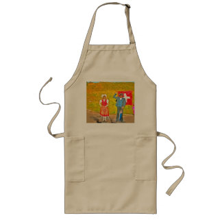 Wearing Swiss traditional costumes Long Apron
