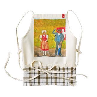 Wearing Swiss traditional costumes Zazzle HEART Apron
