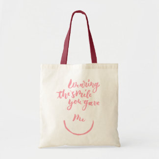 Wearing the smile you gave me tote bag