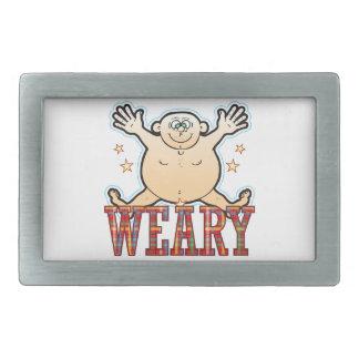 Weary Fat Man Rectangular Belt Buckle