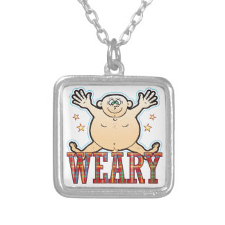 Weary Fat Man Silver Plated Necklace