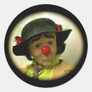 Weary Willie Sad Face Clown Large Round Sticker