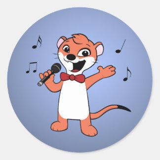 weasel cartoon classic round sticker