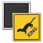 Weasel / Ferret Crossing Highway Sign 2 Inch Square Magnet