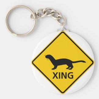 Weasel / Ferret Crossing Highway Sign Keychains
