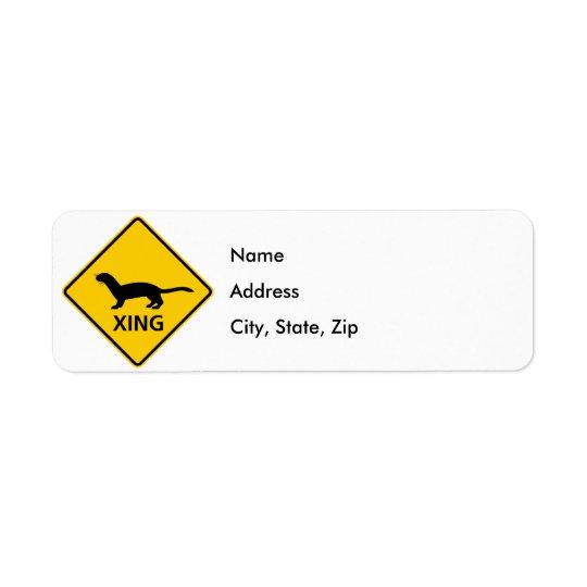 Weasel / Ferret Crossing Highway Sign Label