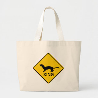 Weasel / Ferret Crossing Highway Sign Large Tote Bag