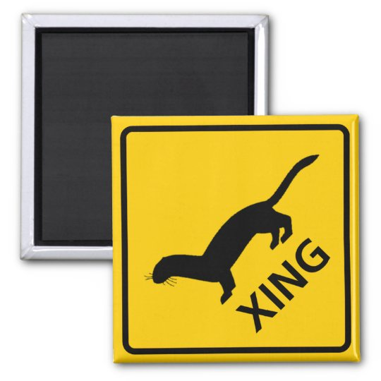Weasel / Ferret Crossing Highway Sign Magnet